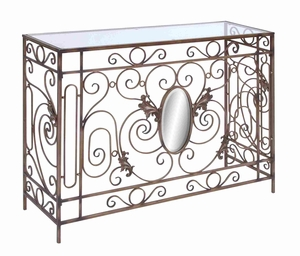 "Unique and Stylish 32""H Metal Console Table with Modern Trends Brand Woodland"