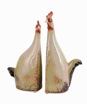 Unique Carbonized Ceramic Rooster with True Colors (Set of 2) Brand Woodland