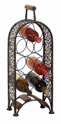 "Unique Chile Metal Wine Rack Wine Bottle Holder 23""H Brand Woodland"
