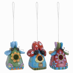 Unique Damage Resistant Fiber Glass Bug Birdhouse 3 Assorted Brand Woodland