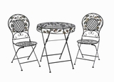 Unique Designed Metal Bistro in Black Glossy Finish (Set of 3) Brand Woodland