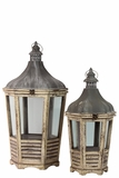 Unique & Distinctive Design Wooden Lantern Set of Two