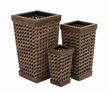 Unique Exquisite Wood Pe Planter with Intricate Weave Design Brand Woodland