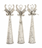 Unique Metal Angels in Silver Finish 3 Assorted Holiday Decor