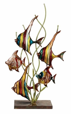 Unique Metal Fish Decor in Multi Color with Modern Design Brand Woodland