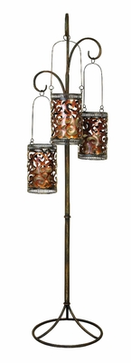 """Unique Metal Floor Candle Lantern Stand 67""""H Brand Woodland"""