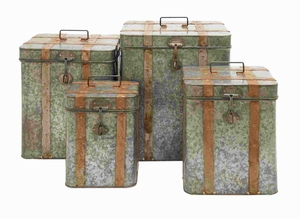 Unique Metal Galvanized Boxes Intricate Design (Set of 4) Brand Woodland