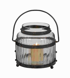 Glass Lantern With Metal Handle And The Frame Sport - 34694 by Benzara
