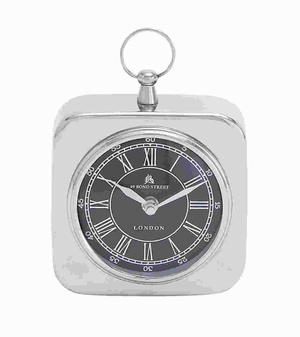 Unique Metal Nickel Plated Table Clock with Modern Detailing Brand Woodland