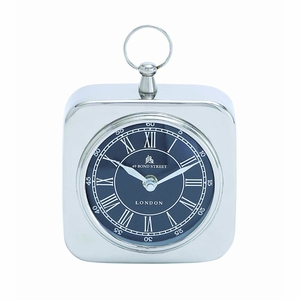 Nickel Plated Table Clock With Modern Detailing - 27854 by Benzara