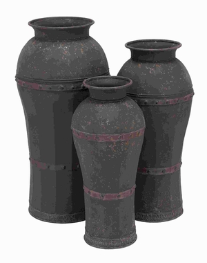 Unique Metal Vase with Antique Weathered Finish (Set of 3) Brand Woodland