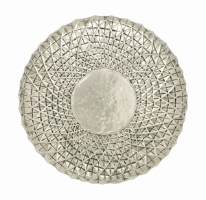 Exclusive Metal Wall Round Shape Decor In Off White - 34655 by Benzara
