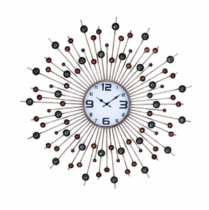 Unique Mod Wall Clock Art With Green And Red Circles Brand Woodland
