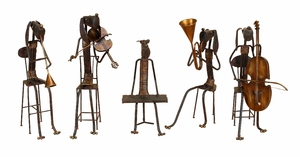 Unique Musicians Night With Music Instruments Set of 5 Brand Woodland