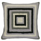Unique Patterned Brilliant Squares Gray Hooked Pillow by 123 Creations