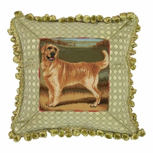 Unique Patterned Golden Retriever Petit Point Pillow by 123 Creations