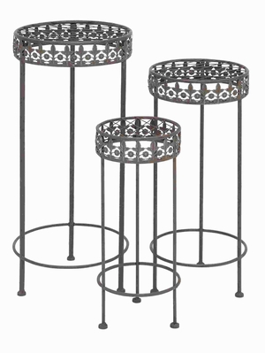 Unique Plant Stand with Rubber Cups in Round Shaped (Set of 3) Brand Woodland