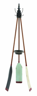 Unique Rowing Oar Coat Rack With Multiple Hooks And Change Tray Brand Woodland