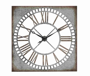 Unique Rustic Metal Wall Square Clock D�cor Brand Benzara