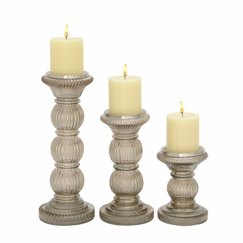 Unique Candle Holders: Buy Unique Set Of Three Glass Candle Holder At