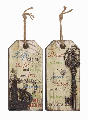 Unique Set of Two Wooden Frame Metal Wall D�cor Brand Benzara