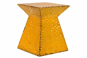 Unique Shaped Vibrant Yellow Metal Stool by Urban Trends Collection