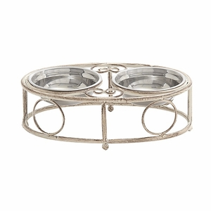 Unique Shaped White Metallic Pet Feeder Brand Benzara