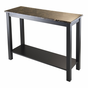 Unique Styled Torri Console Table with Faux Marble Top by Winsome Woods