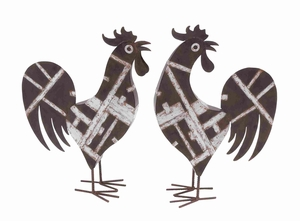 "Unique & Stylish 21"" Metal Rooster with Unique Design Set of 2 Brand Woodland"