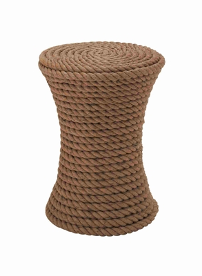 Unique Two Headed Drum Shaped Wooden and Rope Stool Brand Benzara