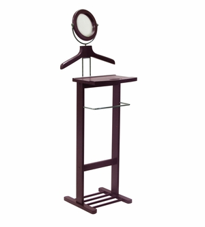 Winsome Wood Unique Valet Stand with Mirror and Open Base