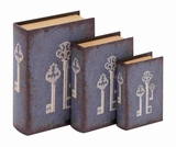 Unique Wood Book Box Sets with Mysterious Key Design Brand Benzara