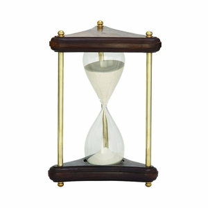 Unique Wood Brass Sand Timer - 28521 by Benzara