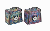 Unique Wood Canvas Clock Box 2 Assorted with Vibrant Colors Brand Woodland