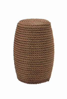 Unique Wooden and Rope Designed Stool Brand Benzara