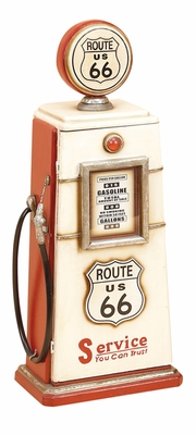 Unique Wooden Gas Pump Cd Holder in Red and White Color Brand Woodland