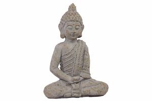 Uniquely Carved Sitting Cement Buddha White by Urban Trends Collection