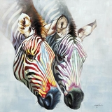Uniquely Painted Zebras in Color Artwork by Yosemite Home Decor
