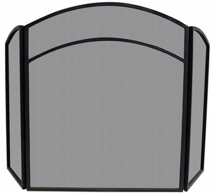 Uniquely Styled 3 Fold Black Wrought Iron Arch Top Screen