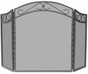 Uniquely Styled 3 Fold Bronze Wrought Iron Arch Top Screen w/ Scrolls