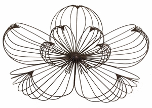 Uniquely Styled Brown Metal Large Floral Wall Art by Three Hands Corp