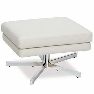 Uniquely Styled Leathered Yield Ottoman by Office Star