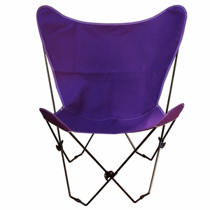 Uniquely Styled Purple Fabric Foldable Butterfly Chair by Alogma