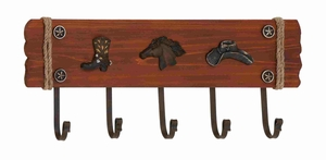 Uniquely Stylish American Cowboy Themed Wooden Metal Wall Hook Brand Benzara