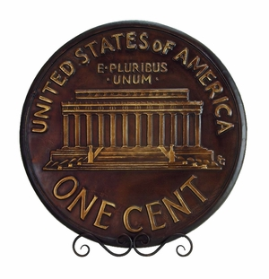United States One Cent Decorative Plate With Stand Brand Woodland