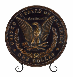 United States One Dollar Decorative Plate With Stand Brand Woodland
