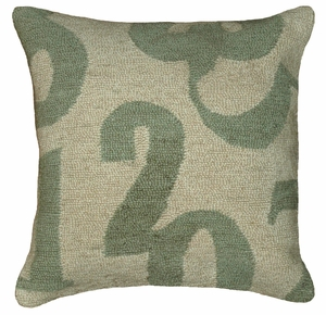 "Unmatched Comfort Numbers Green Hooked Pillow 16x16"" by 123 Creations"