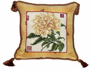 """Unmissable and Ravishing Peony Needlepoint Pillow 16x16"""" by 123 Creations"""