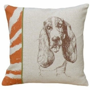 """Unmissable Screen Print Pillow Basset Hound 18x18"""" by 123 Creations"""