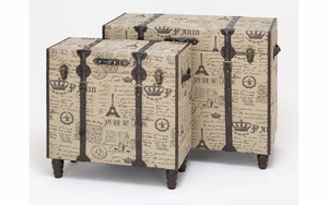 Upright Trunks - Attractive Trunks With a Parisian Flavor - Set of 2 Brand Woodland